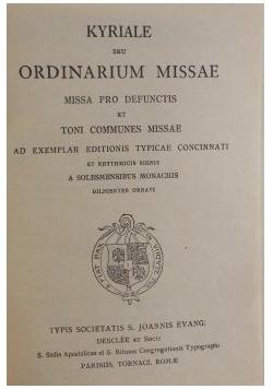 Kyriale seu Ordinarium Missae,  1920 r.