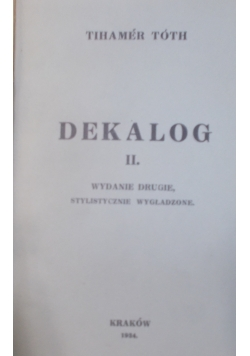 Dekalog II , 1934 r.