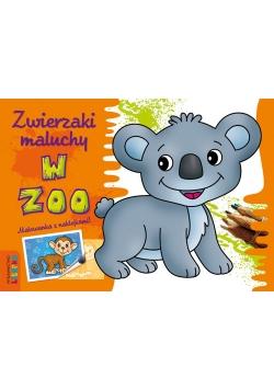 Zwierzaki maluchy  W zoo Malowanka z naklejkami