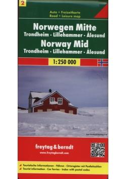 Norwegia część centralna Trondheim - Lillehammer - Alesund, 1:250 000