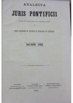 Analecta juris pontificii, douzieme serie, 1873 r.