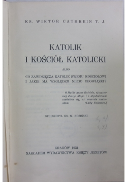 Katolik i Kościół Katolicki , 1931 r.