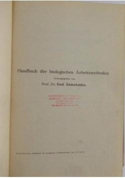 Handbuch der biologischen Arbeitsmethoden, 1929r