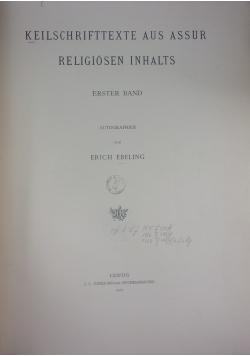 Keilschrifttexte aus Assur Religiosen Inhalts, 1919r.