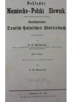 Dokładny Niemiecko-Polski słownik, 1854r.