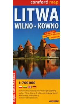 Litwa Wilno Kowno mapa samochodowa 1:700 000