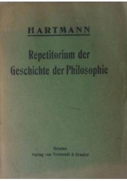 Repetitorium der Geschichte der Philosophie, 1916 r.