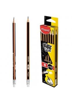 Ołówek z gumką Blackpeps B (12szt) MAPED