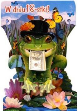 Karnet składany 3D - W dniu 18-stki. Żabka