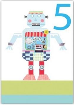 Karnet B6 brokat z kopertą Urodziny 5 chłopiec