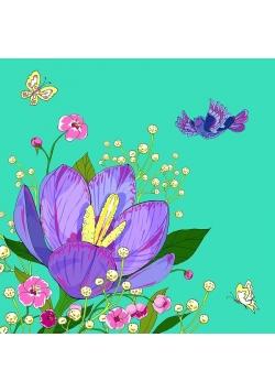 Karnet Swarovski kwadrat CL0608 Kwiaty zielony