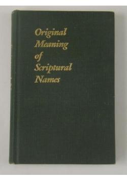 Original Meaning of Scriptural Names
