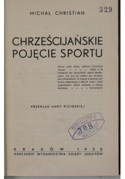 Chrześcijańskie pojęcie sportu, 1936 r.