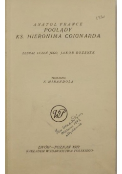 Poglądy księdza Hieronima Coignarda, 1922 r.