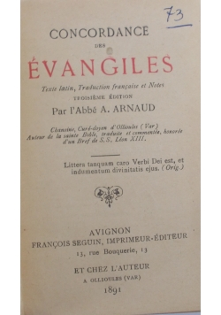 Concordance des evangiles, 1891 r.