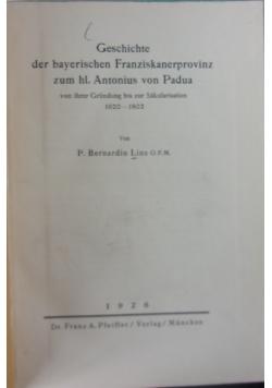 Geschichte der bayerischen Franziskanerprovinz,1926r.