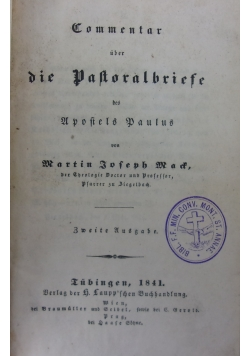 Commentar uber die Pastoralbriefe des Uopostels Paulus, 1841 r.