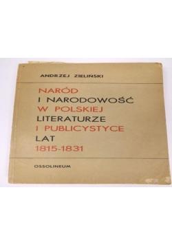 Naród i narodowość w polskiej literaturze i publicystyce lat 1815-1833