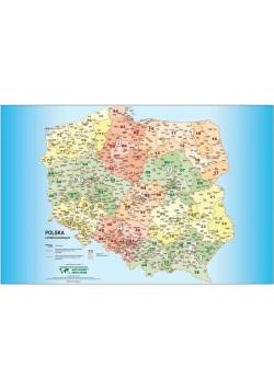 Polska mapa kodów pocztowych. Podkladka na biurko