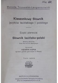 Kieszonkowy słownik języków łacińskiego i polskiego, 1926 r.