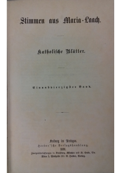 Stimmen aus Maria - Laach, 1891 r.