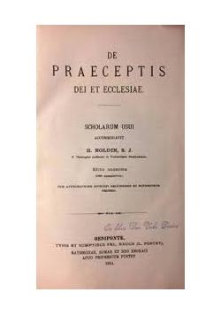 De Praceptis dei et ecclesiae, 1923 r.