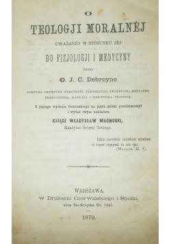 O teologji moralnej, 1870r.