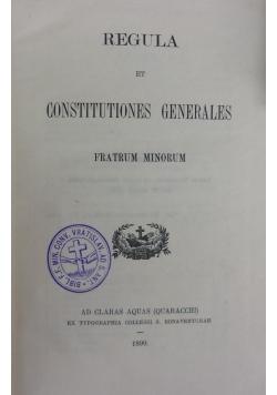 Regula et Constitutiones Generales. 1899 r.