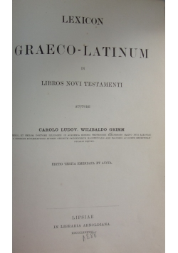 Lexicon Graeco-Latinum in Libros Novi Testamenti