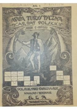 Mapa turystyczna Karpat Polskich, 1928r.