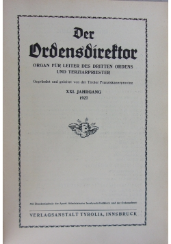 Der Ordensdireftor organ fur leiter des dritten ordens und terzuarpriester, 1927 r.