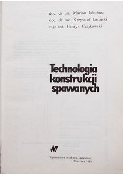 Technologia konstrukcji spawanych