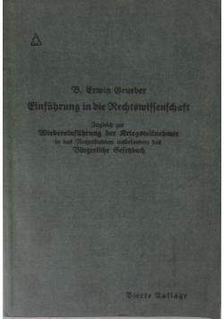 Einfuhrung in die Rechtswissenschaft, 1918 r.
