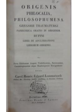 Origenis philocalia,philosophumena,1848r.
