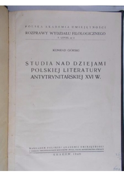 studia nad dziejami polskiej literatury antytrynitarskiej XVI w., 1949 r