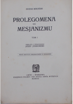 Prolegomena do mesjanizmu, 1922r