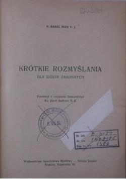 Krótkie rozmyślania dla sióstr zakonnych, 1947 r.