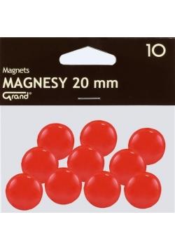 Magnes 20mm czerwony 10szt GRAND
