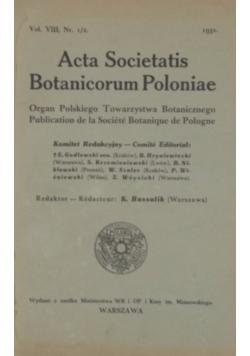 Acta societatis Botanicorum Poloniae, vol. VIII, Nr. 1/2., 1931 r.