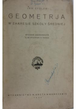 Geometrja w zakresie szkoły średniej, 1929 r.