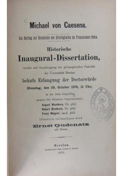 Historische Inaugural-Dissertation, 1876r.