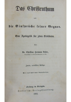 Das Christenthum und die Einfuruche feiner Gegner, 1864 r.