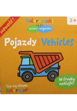 POJAZDY Vehicles Kolorowanki NAKLEJKI angielski
