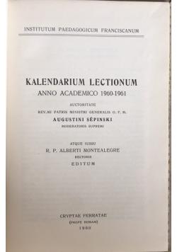 Kalendarium Lectionum anno accademico 1960-1961