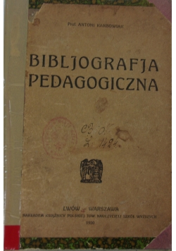 Bibliografia pedagogiczna, 1920 r.
