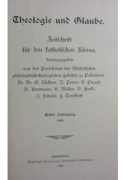 Theologie und Glaube, 1909r.
