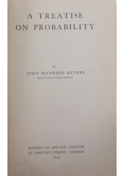 A treatise on probability, 1943r.