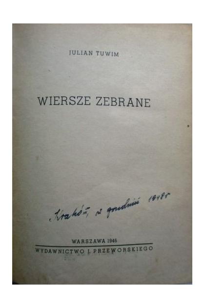 Wiersze Zebrane 1946r Julian Tuwim 1300 Zł Tezeuszpl