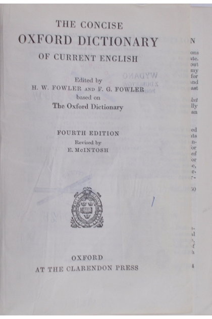 The Concise Oxford dictionary of current English in ...